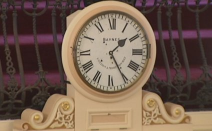 Photo: One of two clocks that